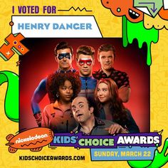 The biggest, slimiest, surprise-iest awards show is back and better than ever for the most epic night of the year! Henry Danger Nickelodeon, Nickelodeon Shows, Kids Choice Award, Choice Awards, Ella Anderson, Henry Danger Jace Norman, Jaco, I Voted, Favorite Tv Shows