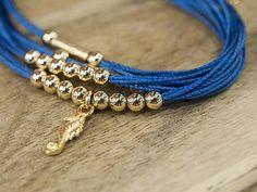 Blue Handmade Wrap Bracelet with Gold Filled Charm, Nautical Boho Wrist Jewelry for Her Handmade Bracelets, Beaded Bracelets, Blue Bracelets, Jewelry For Her, Unique Jewelry, Blue Charm, Unique Gifts For Men, Nautical Jewelry, Wedding Bracelets