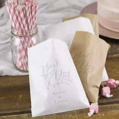 -- guest gift idea -- Personalized Treat Bags - guests can take home left over sweets as thank you gifts, we can order some extra cookies & brownies to be sure there are plenty left for to-go bags