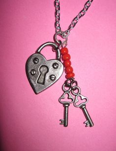 Valentine's Day Lock & Key Charm Necklace Gothic Vintage Style Romance Love Heart Jewelry Pendant Free Shipping To USA / Canada. $15.00, via Etsy.