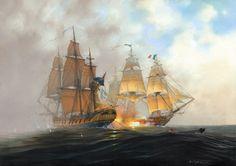 HMS Surprise and The Acheron.