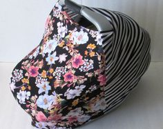 Black and White Stripes /Floral Stretchy Car Seat Cover / Car Seat Cover / Carseat Cover / Car Seat Canopy / Carseat Canopy / Nursing Cover / Stretchy Nursing Cover / Shopping Cart Cover / Multi-Use Cover / High Chair Cover / GingerSunshine on Etsy www.gingersunshine.etsy.com $25