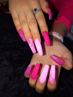 20 Best Acrylic Nails ideas than you need to copy ASAP - Ethinify - long nails Summer Acrylic Nails, Best Acrylic Nails, Coffin Acrylic Nails Long, Best Nails, Pink Acrylic Nail Designs, Purple Nail Designs, Long Nail Designs, Pink Acrylics, Spring Nails