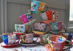 fabric teacups for a mad hatter birthday party - so sweet