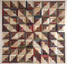 I love this Log Cabin quilt layout! It is one of 66 great layouts illustrated in Judy Martin's Log Cabin Quilt Book. Beautiful, scrappy blocks from Katy Quilts-- Design Wall Monday