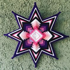 Purple color is a color of Crown Chakra. Mandala helps to communicate with Divine Energy! The size is Materials: Wooden Sticks and Colored Yarn Mandala Art, Mandala Design, God's Eye Craft, Art Fil, Kids Market, Dream Catcher Art, Yarn Wall Art, Gods Eye, Thread Art