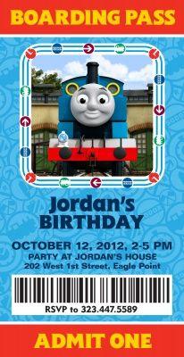 Thomas The Tank Engine Birthday Invitations Boarding Pass Design