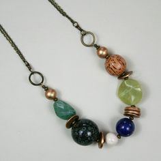 Alice & Agate Necklace Blue/Green Lapis Lazuli by SimonandRuby