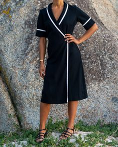 Hadeda Vintage Black High Contrast Striped Dress