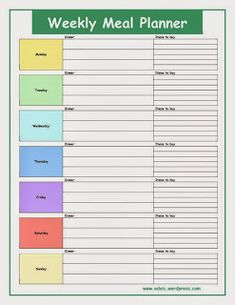Menu Planning Template  Download The Above Template Here