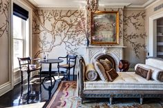 home of Tracy Martin & Vince Clarke | hand painted silk wallpaper from Fromental in England