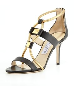Jimmy Choo Venus Leather Stud Sandal, Black/Gold on shopstyle.com