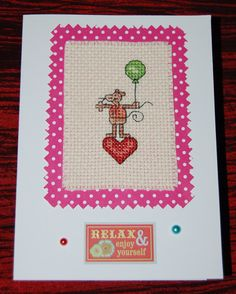 Cross stitch birthday card - mouse with balloon