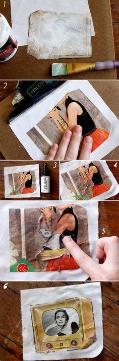 """Foto of plaatje met gel medium (of Gesso?) op canvas/ stof/papier """"kopiëren"""""""