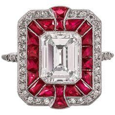 Diamond & Ruby Art Deco Style Ring in Platinum 1