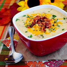 Bacon-Cheddar Cauliflower Chowder is a thick, creamy, low-carb alternative to Baked Potato Soup!
