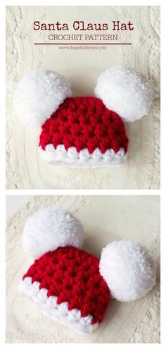 Santa Claus Double Pom Pom Baby Hat Free Crochet Pattern Simple hats and beanies are very popular. These Double Pom Pom Hat Free Crochet Patterns are perfect for beginners to make. Crochet Baby Hats Free Pattern, Bonnet Crochet, Crochet Headband Pattern, Crochet Beanie Hat, Crochet For Kids, Baby Knitting Patterns, Free Crochet, Beanie Pattern, Hat Patterns