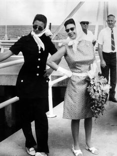 Queen Elizabeth shares a moment with Princess Anne on Queen Elizabeth's 44th birthday, during the 1970 tour on Green Island in far north Queensland. 1970 Royal Tour.