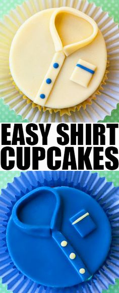 Quick and easy SHIRT CUPCAKES for Father's Day, made with fondant. Step by step tutorial included for this Father's Day cupcake topper. This is one of many great Father's Day cupcake ideas. From cakewhiz.com