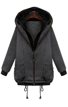 Warm and Cozy! Love the Layered Hood! Black and Grey Color Block Long Sleeves Hooded Coat #Warm #Cozy #Grey #Black #Layered #Jacket #Fashion