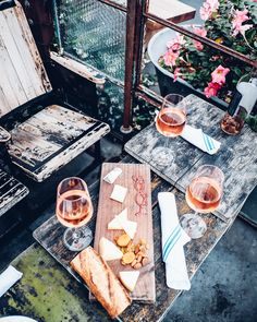 Rosé and cheese board in Santa Barbara