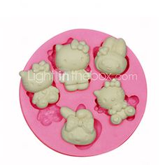 Hello Kitty Silicone Mould Cake Decorating Silicone Mold For Fondant Candy Crafts Jewelry PMC Resin Clay - USD $2.99