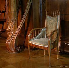Art nouveau Louis Majorelle vers 1898 Marqueterie de bois, Velours de coton, Noyer Musée d'Orsay