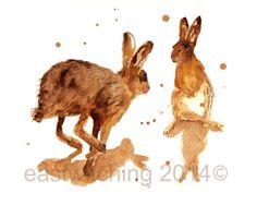LIÈVRE Print - 8x10inches - heureusement Haring autour, lièvre, lièvre art  Alison Fennell