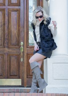 Over-the-knee boots for petites: Suede over-the-knee boots, beige turtleneck sweater, black leather skirt - by petite style blogger AnnRobieFashion