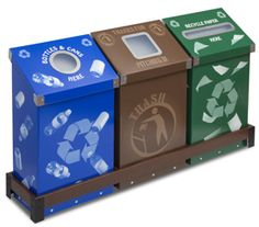 WedgeCycle™3 Bin Recycle & Waste Station