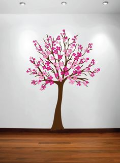 InnovativeStencils - Large Wall Cherry Tree Nursery Decal Magnolia with Flower Blossoms