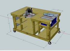 drag to resize or shift+drag to move Garage Workbench Plans, Woodworking Workbench, Easy Woodworking Projects, Mobile Workbench, Diy Router Table, Lumber Storage Rack, Garage Workshop Organization, Backyard Storage Sheds, Diy Table Saw