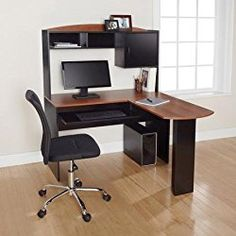 Corner L Shaped Office Desk With Hutch Black And Cherry