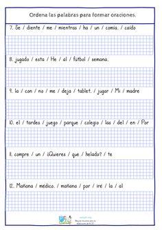 Las tareas de ordenar palabras para componer frases con sentido, son una importantetécnica utilizada para la mejora de la comprensión lectora. Este tipo de tarea