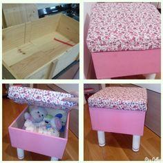 De caja de jamon a taburetes para guardar juguetes Reciclando caja madera