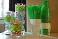 Easy decor -- like the green cups Golf Party, 50th Party, 60th Birthday Party, Golf 2016, Golf Baby Showers, Golf Theme, Retirement Parties, Party Entertainment, Party Themes