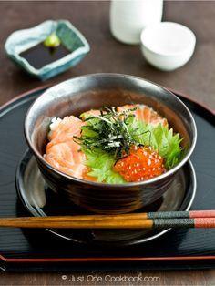 あーおなかすいてきた Salmon & Ikura Don #Washoku