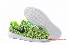 Nike Roshe Run Womens x Yeezy 350 Boost Fluorescent green black white Shoes  $66