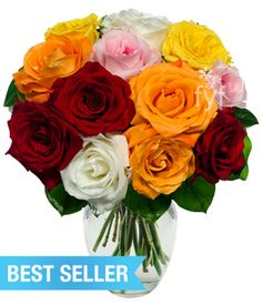 Rainbow Roses with red roses, pink roses, purple roses and more! This rainbow rose bouquet at a cheap price will fill the room with color. Valentines Flowers, Mothers Day Flowers, Flowers For You, Cut Flowers, Floral Bouquets, Floral Wreath, Rose Varieties, Rainbow Roses, Flower Food