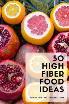 50 High Fiber Food Ideas to help you hit your daily fiber macro goal. Fiber is important for digestion and yet it's one of the hardest macronutrients for people to get in. This list will help give you some ideas of high fiberfoods to help you hit your weightloss goals!