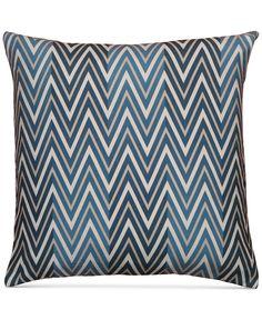 "Hallmart Collectibles Navy Chevron 20"" Square Decorative Pillow - Decorative & Throw Pillows - Bed & Bath - Macy's"