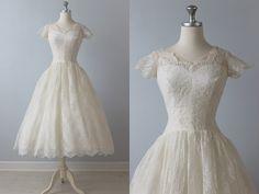 Tea Length Wedding Dress / 1950s Wedding Dress / 50s Lace Dress
