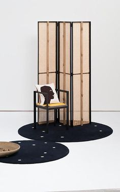 Mice Room Divider, Set Chair with Layers of Leather, Hand Knitted Cushion and Star Carpets by Loewe:This Is Home