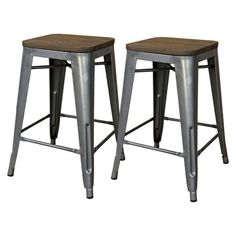 "Threshold™ Hampden Black Industrial 24"" Counter Stool With Wood Top (set Of 2)"