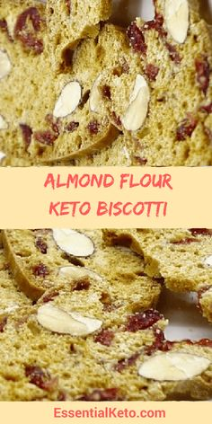 Almond Flour Keto Biscotti - It is keto, low carb and sugar free. This twice baked cookie is thin and crispy and like the original Italian version is made with almonds and cranberries.