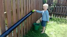 Old/spare guttering lying around? Use it to make your own ball/car/water ramp! A huge hit with my children and took 5 mins and was FREE to construct! Attach guttering lengths to your fence with gutter clips (do this at a gradient/staggered so objects can run down the pipes) Provide buckets with water/jugs/balls/cars and let the fun commence!