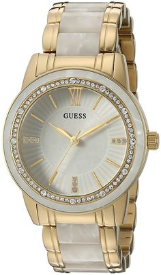 GUESS Women's U0706L3 Trend-Right Gold-Tone Watch with White Center Link * Continue to the watch at the image link.
