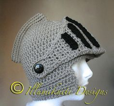 Sir Knight's Helmet Crochet Hat Made to by illumiknitiDesign