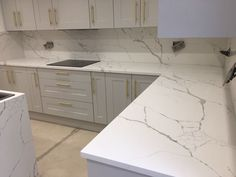 Stunning Cimstone Marble Effect Calacatta Venato Quartz Kitchen Worktop Island and Wall Cladding - exelrod home Quartz Backsplash, Quartz Kitchen Countertops, Refacing Kitchen Cabinets, Calacatta Quartz, Marble Quartz, Granite Kitchen, Home Decor Kitchen, Kitchen Living, Kitchen Interior