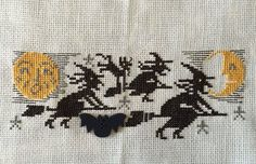 completed cross stitch Prairie Schooler Halloween Witches flying